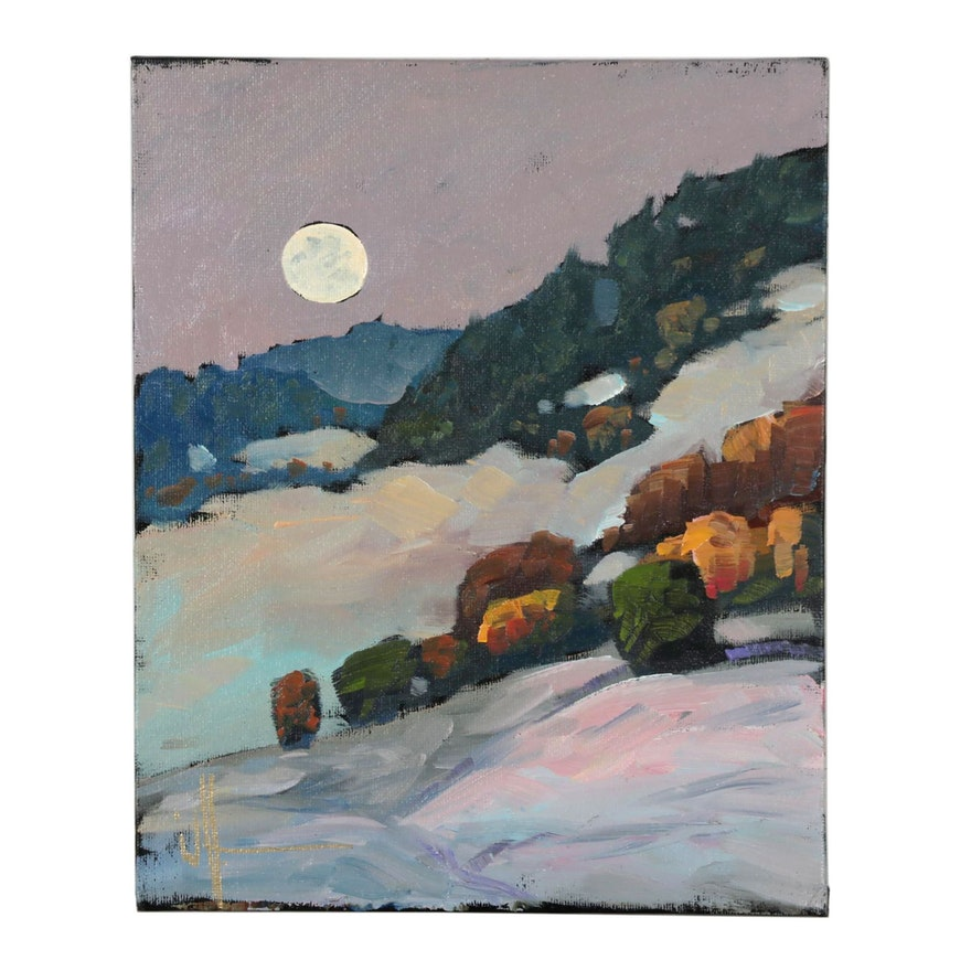 William Hawkins Moonlit Landscape Oil Painting