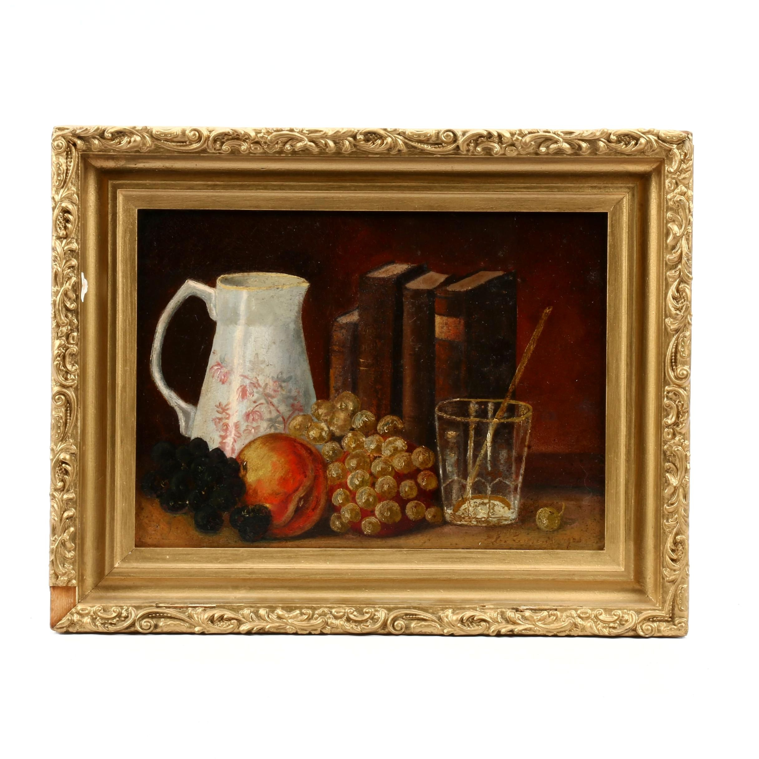 Still Life with Fruit and Books Oil Painting