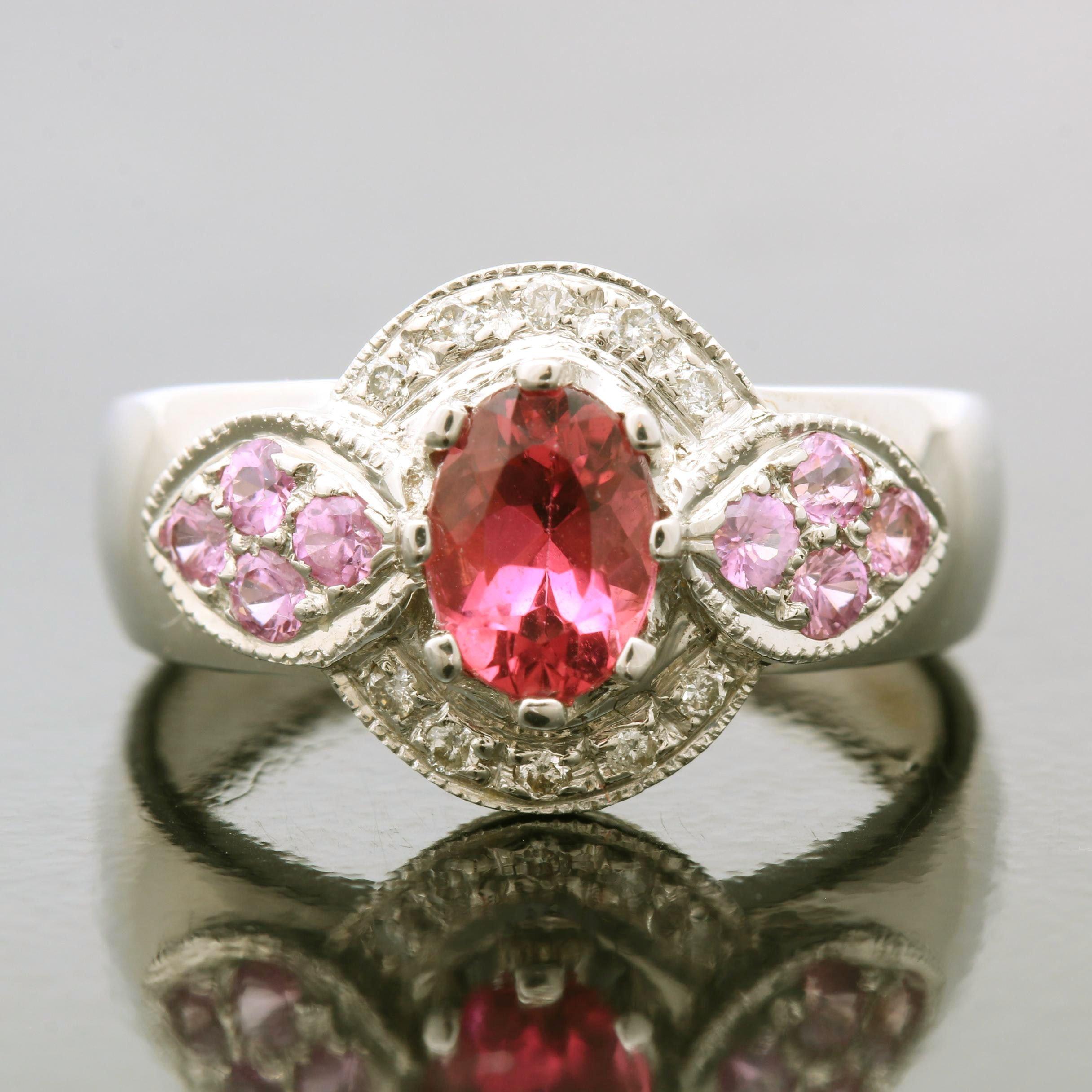 14K Yellow Gold Sapphire, Diamond and Tourmaline Ring