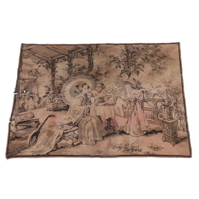 East Asian Inspired Pictorial Tapestry Wall Hanging, Vintage