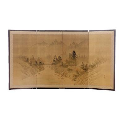 Japanese Hand Painted Silk Four Panel Hanging Screen, Circa 1970