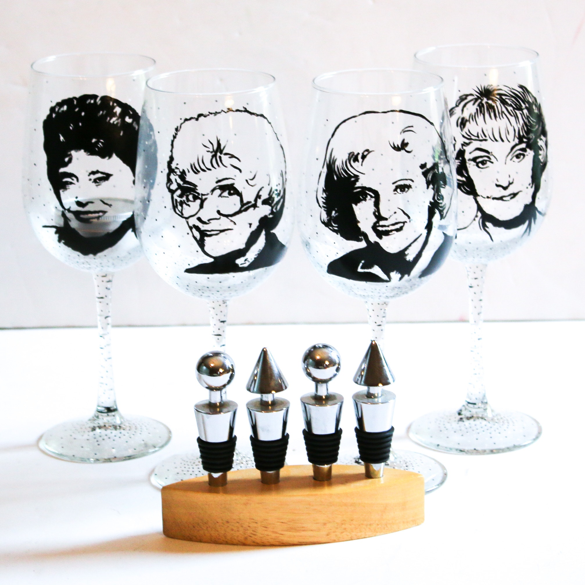 """Hong Peahota Hand-Painted """"Golden Girls"""" Wine Glasses and Bottles Stoppers"""