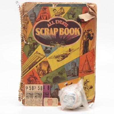 1930-1940s Cincinnati Reds Scrapbook, Ticket Stubs and 1973 Stamped Baseball