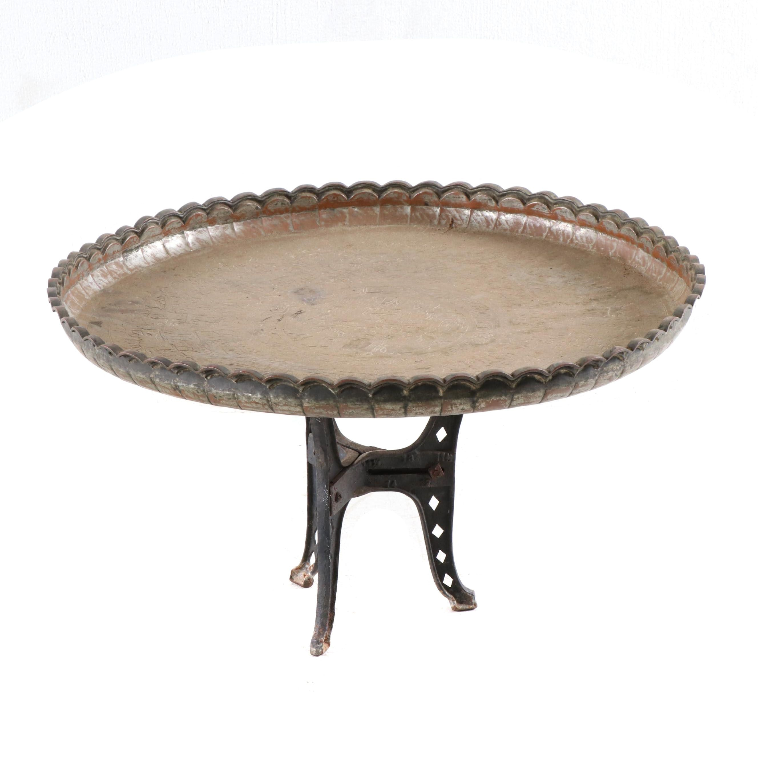Indian Copper Plated Tray Table on Iron Base