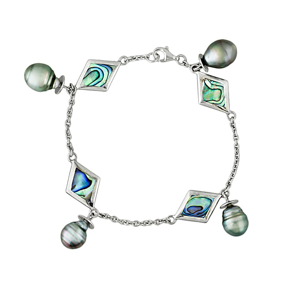Sterling Silver Cultured Pearl and Mother of Pearl Bracelet