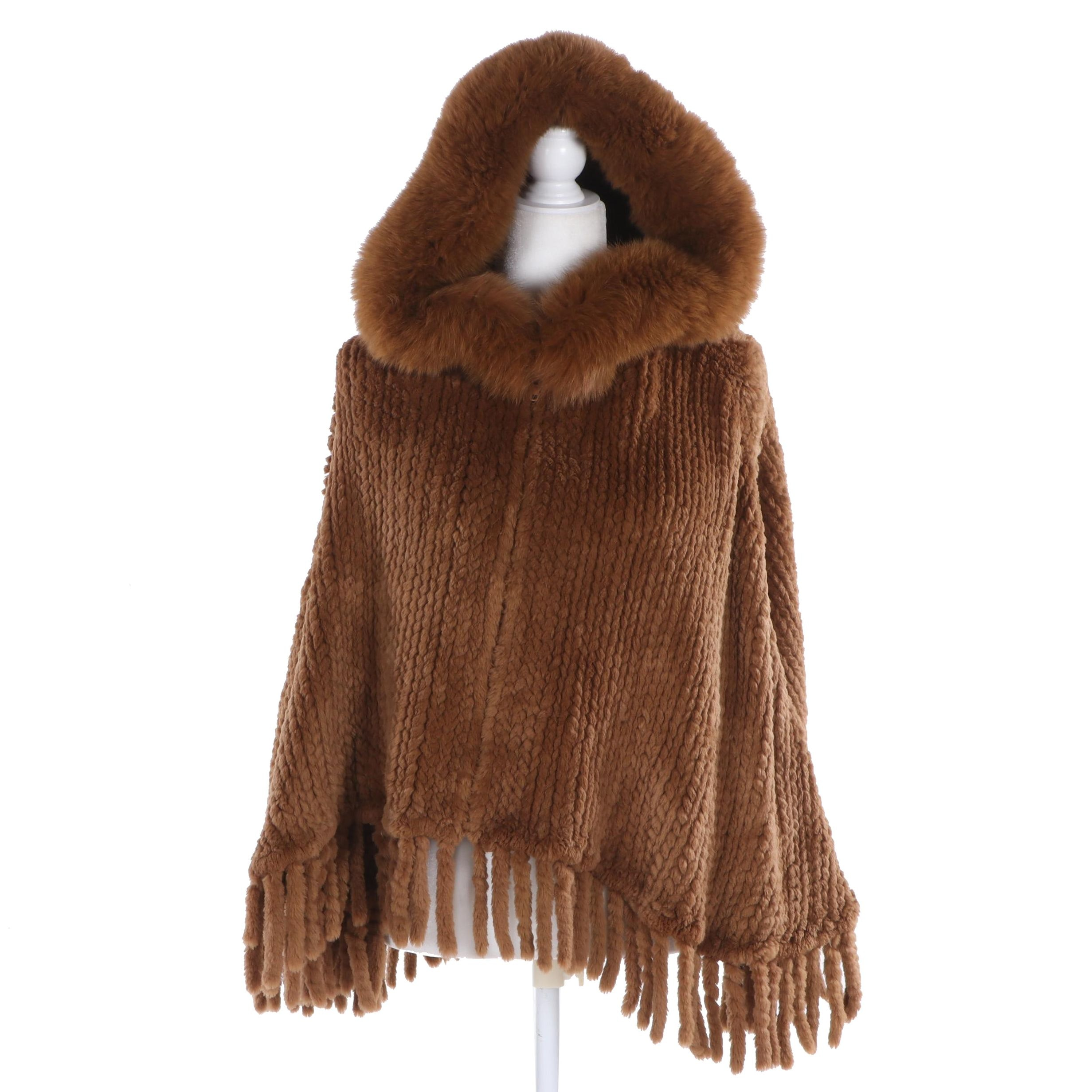 Knitted Rabbit Fur Hooded Poncho