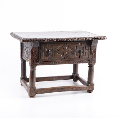 Charles II Style Elm and Oak Single Drawer Low Table, 19th Century