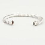 David Yurman Sterling Silver Diamond and Quartz Cable Bracelet