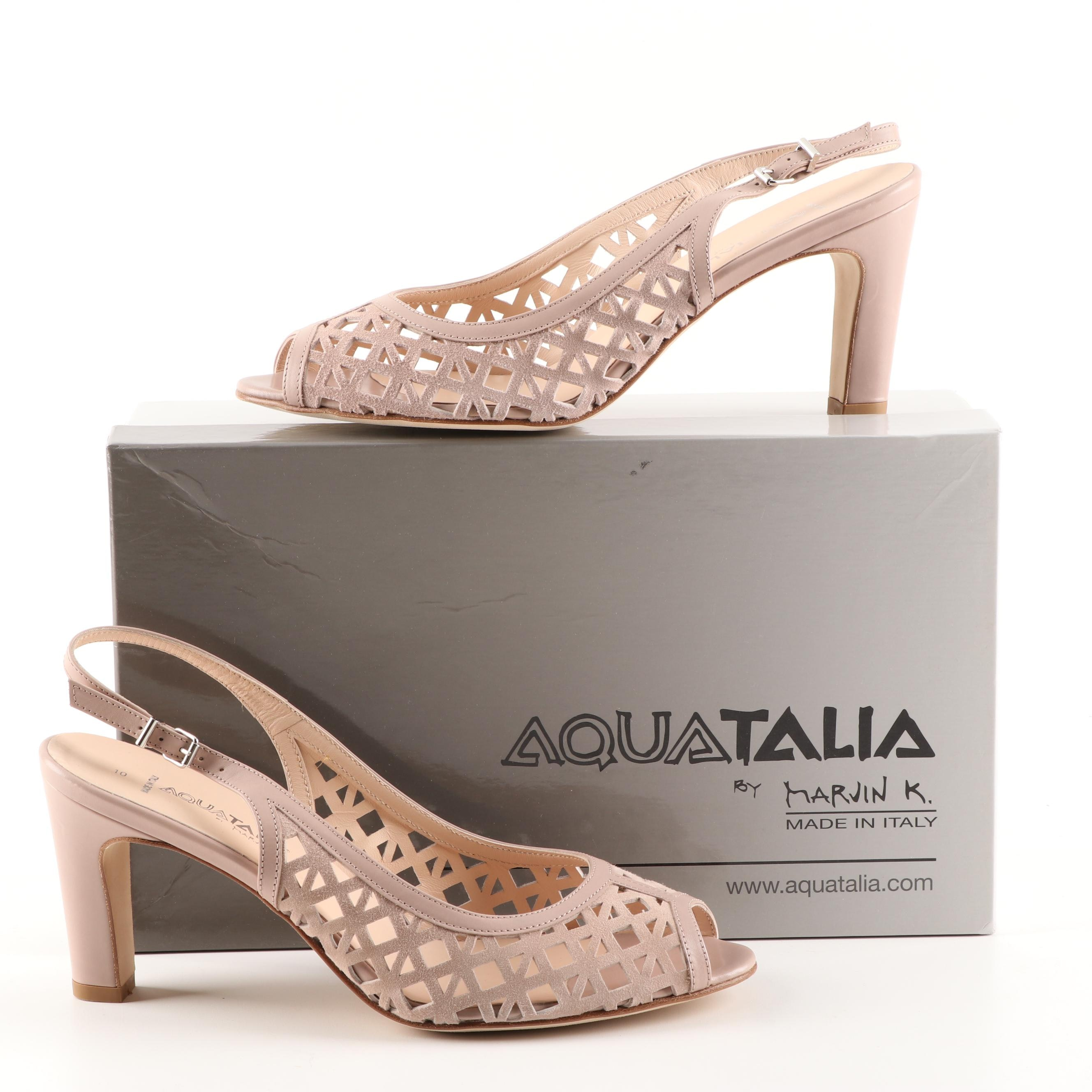"Aquatalia ""Lee"" Suede and Leather Slingback Heel Sandals"