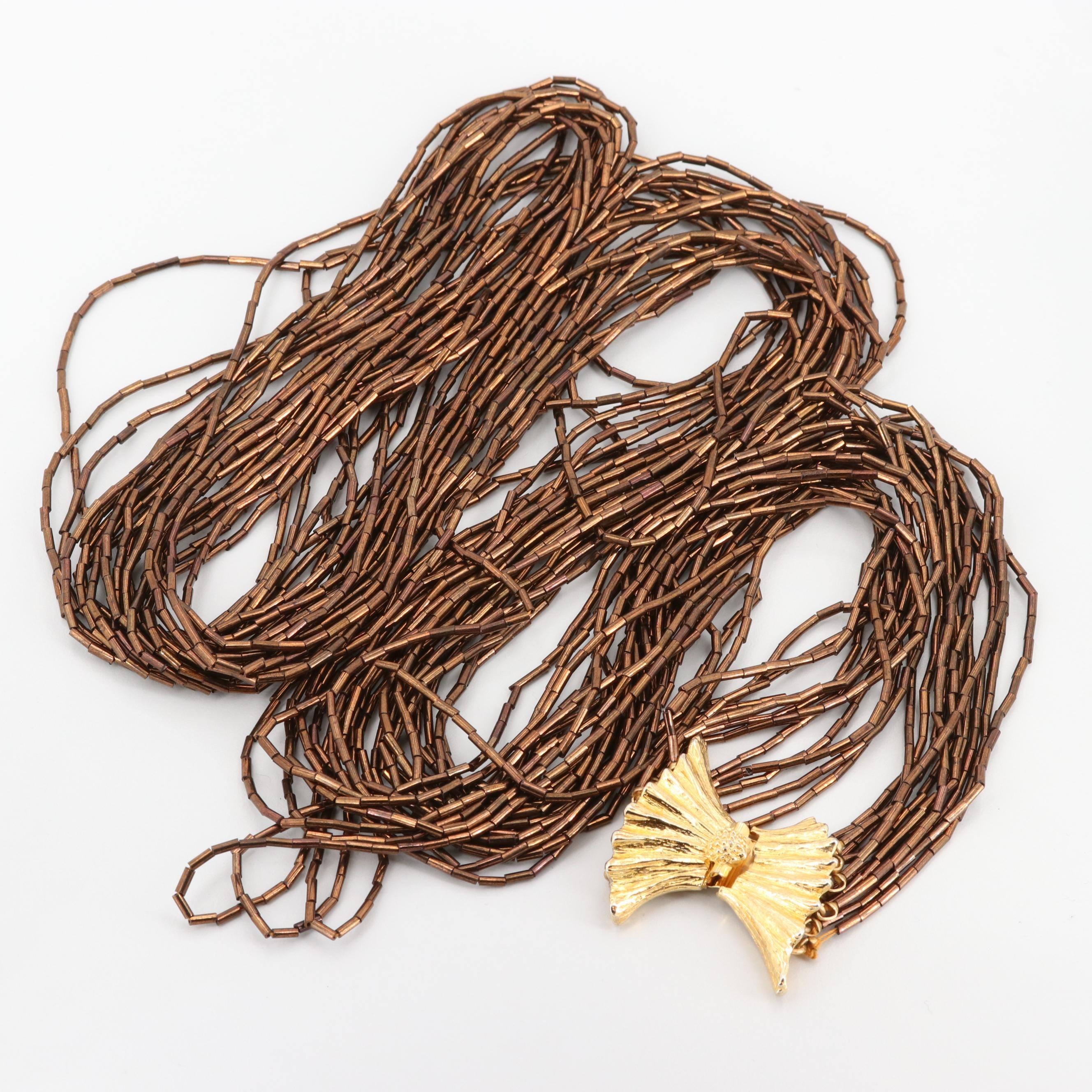 Gold Tone Glass Bugle Beaded Multi-Strand Necklace