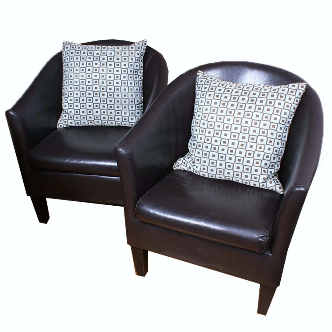 Pair of Contemporary Leather Tub Chairs