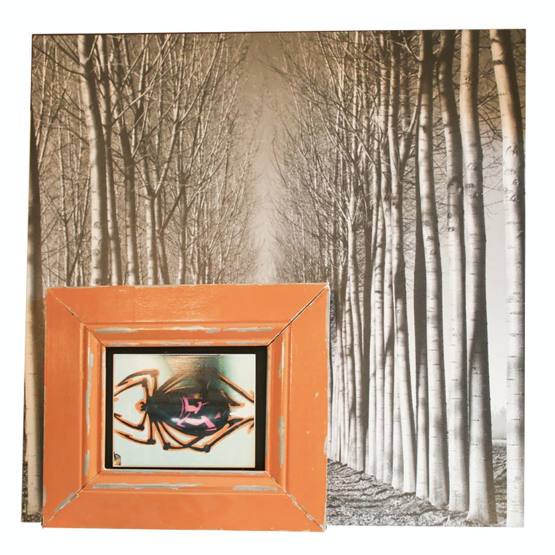 Offset Lithograph of Trees and Printed Ceramic Spider Tile