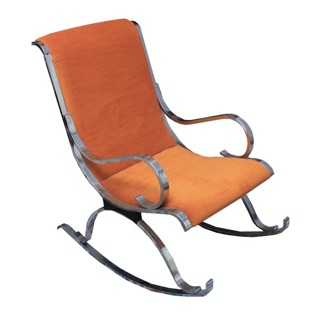 Mid Century Modern Chromed Steel Frame Upholstered Rocking Chair