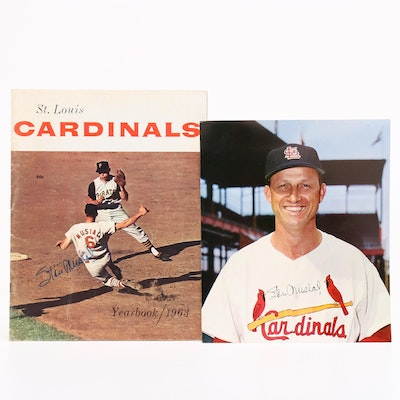 Stan Musial Signed Autograph Photo and 1963 St. Louis Cardinal Year Book
