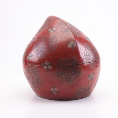 Chinese Lacquerd Papier-Mâché Peach Box with Longevity Motif