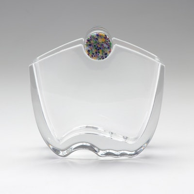 """Baccarat """"Oceanie"""" Crystal Vase with Millefiori Top Designed by Thomas Bastide"""