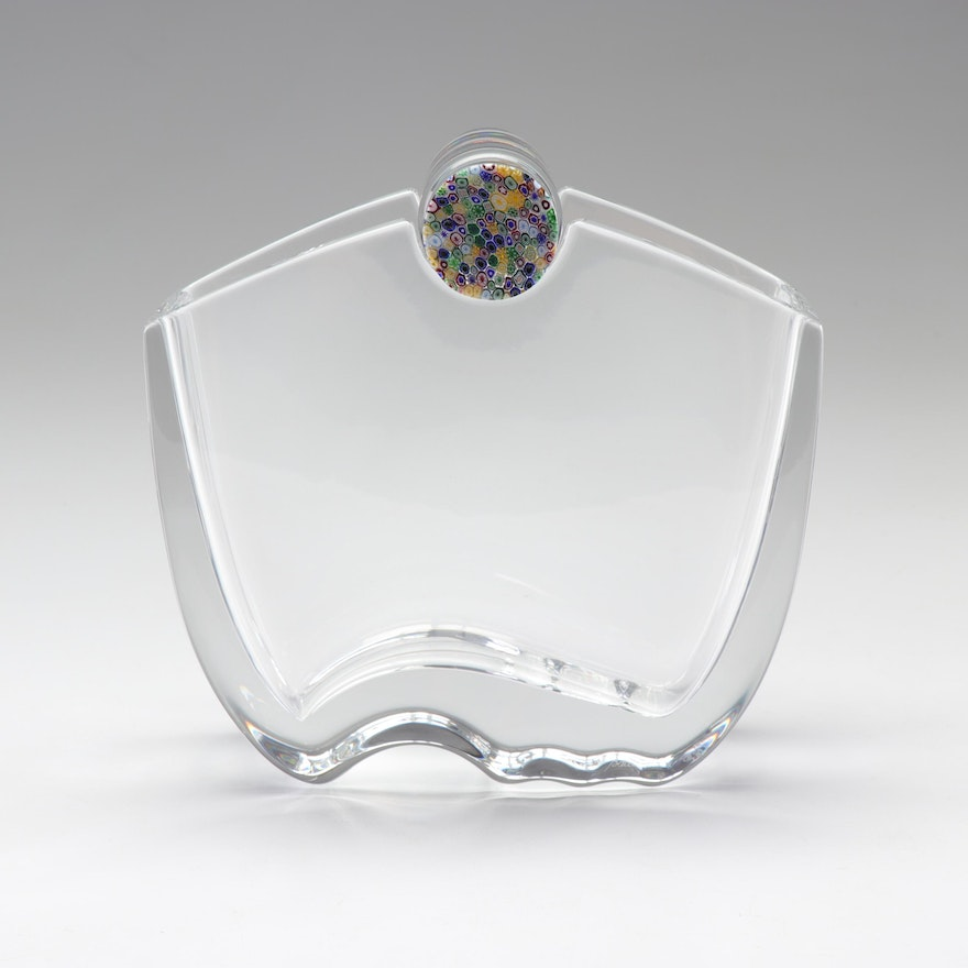 "Baccarat ""Oceanie"" Crystal Vase with Millefiori Top Designed by Thomas Bastide"