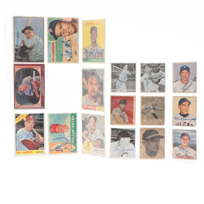 Bowman and Topps Baseball Cards with Many Signed, Circa 1940s-1960s