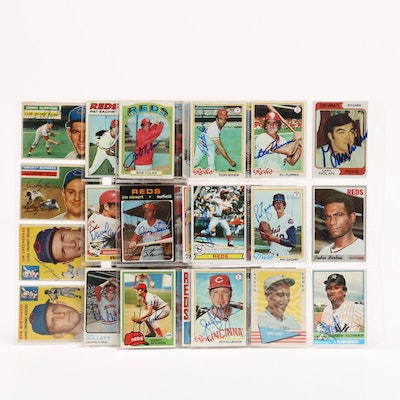 Topps and Bowman Cincinnati Reds Autographed Baseball Cards, 1950s-1990s