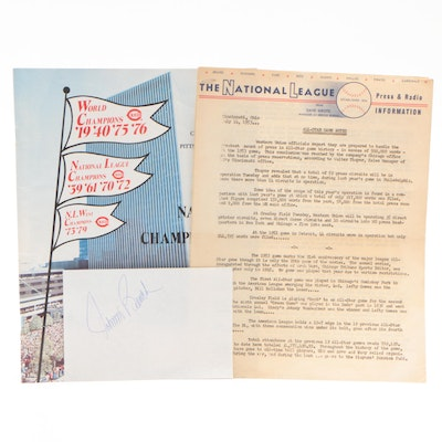 """1953 MLB All-Star """"Game Notes"""" Letter with 1979 National League Playoff Program"""
