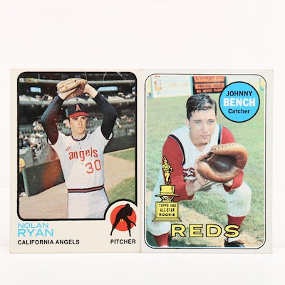1969 Johnny Bench and 1973 Nolan Ryan Topps Baseball Cards