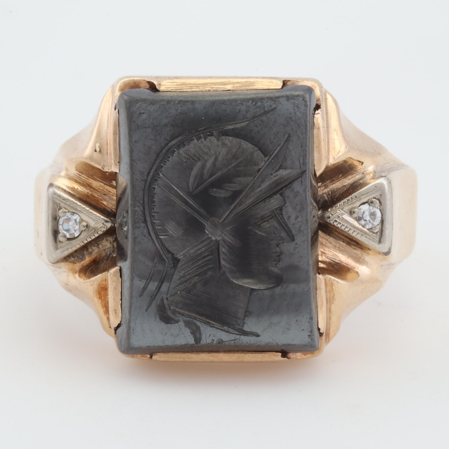 10K Yellow Gold Diamond and Carved Pyrite Intaglio Ring