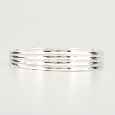 Sterling 99.9% Silver Tapered Bangle Bracelet
