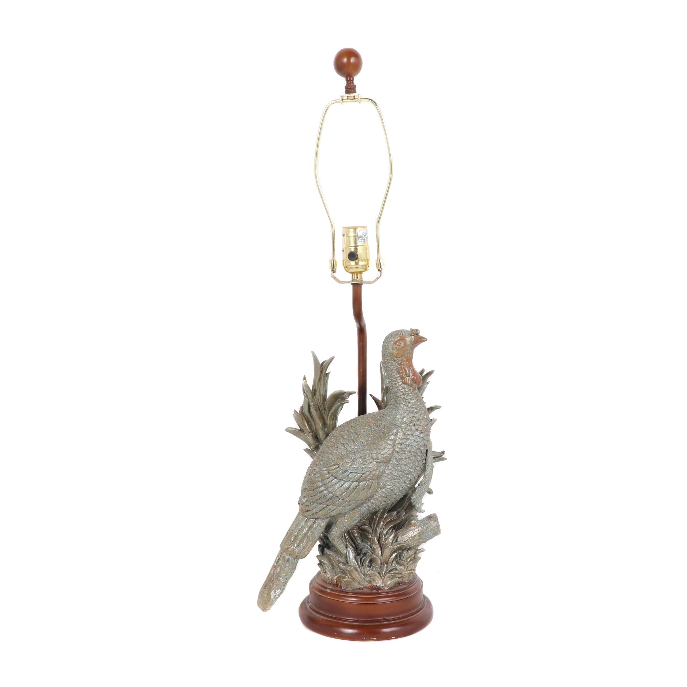 Resin FIgural Pheasant Table Lamp