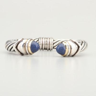 Sterling Silver 18K Yellow Gold Lapis Lazuli Bracelet