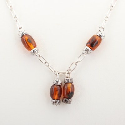 Sterling Silver Oval Link Necklace With Amber Beads