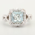 14K White Gold Natural Aquamarine Ring with Side Diamonds