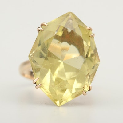 14K Yellow Gold 23.00 CT Citrine Ring
