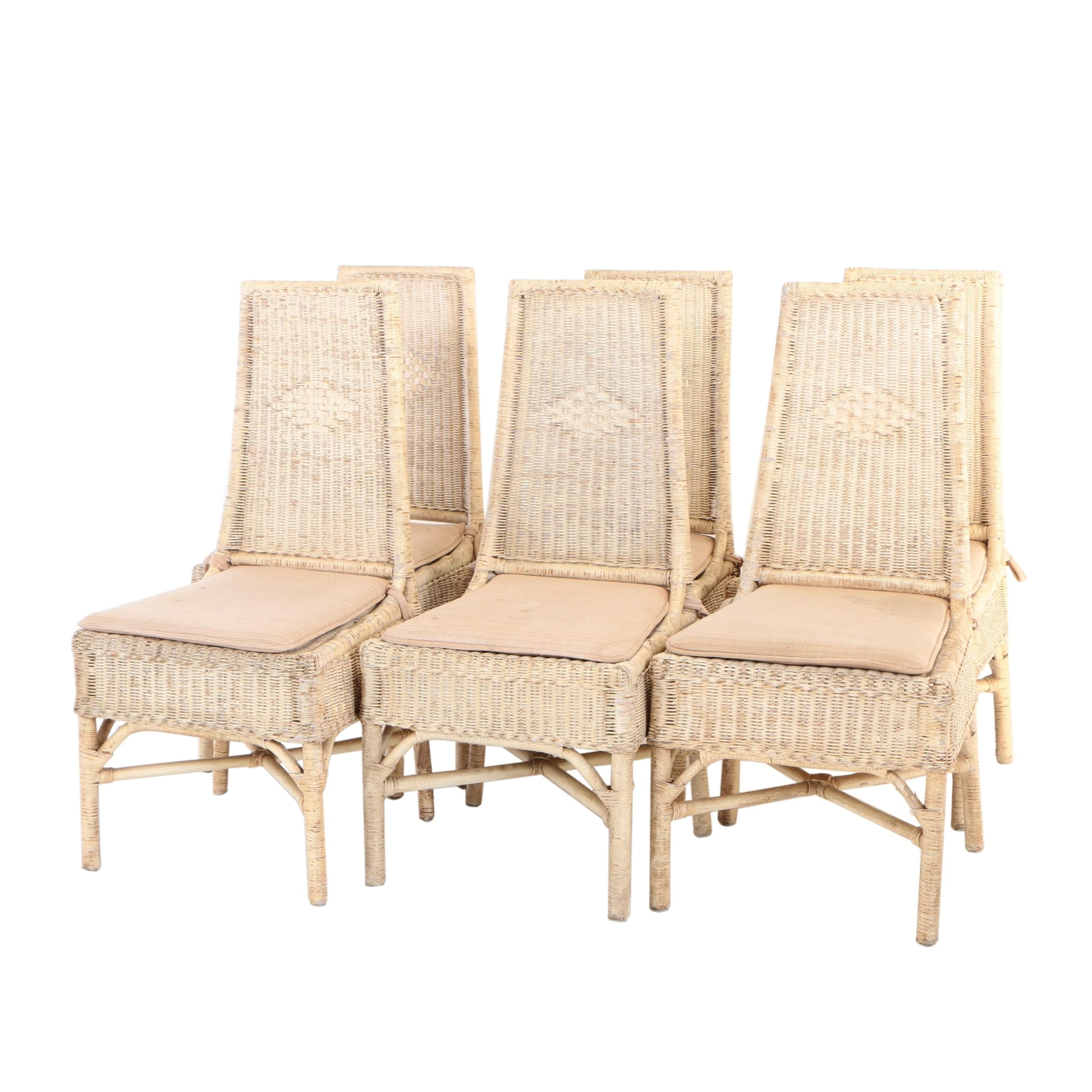 Six Painted Wicker Patio Dining Side Chairs, Late 20th Century