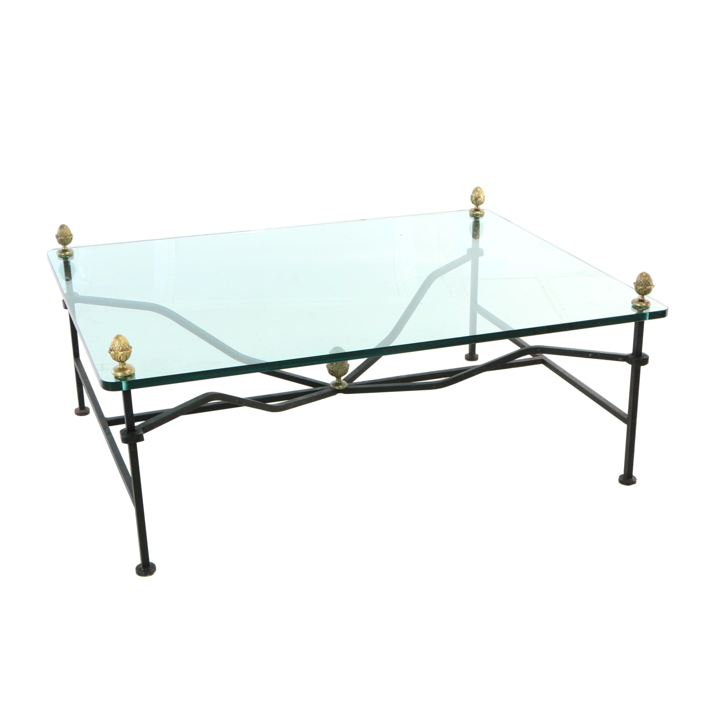 Brass-Mounted Iron and Glass-Topped Coffee Table, 20th Century