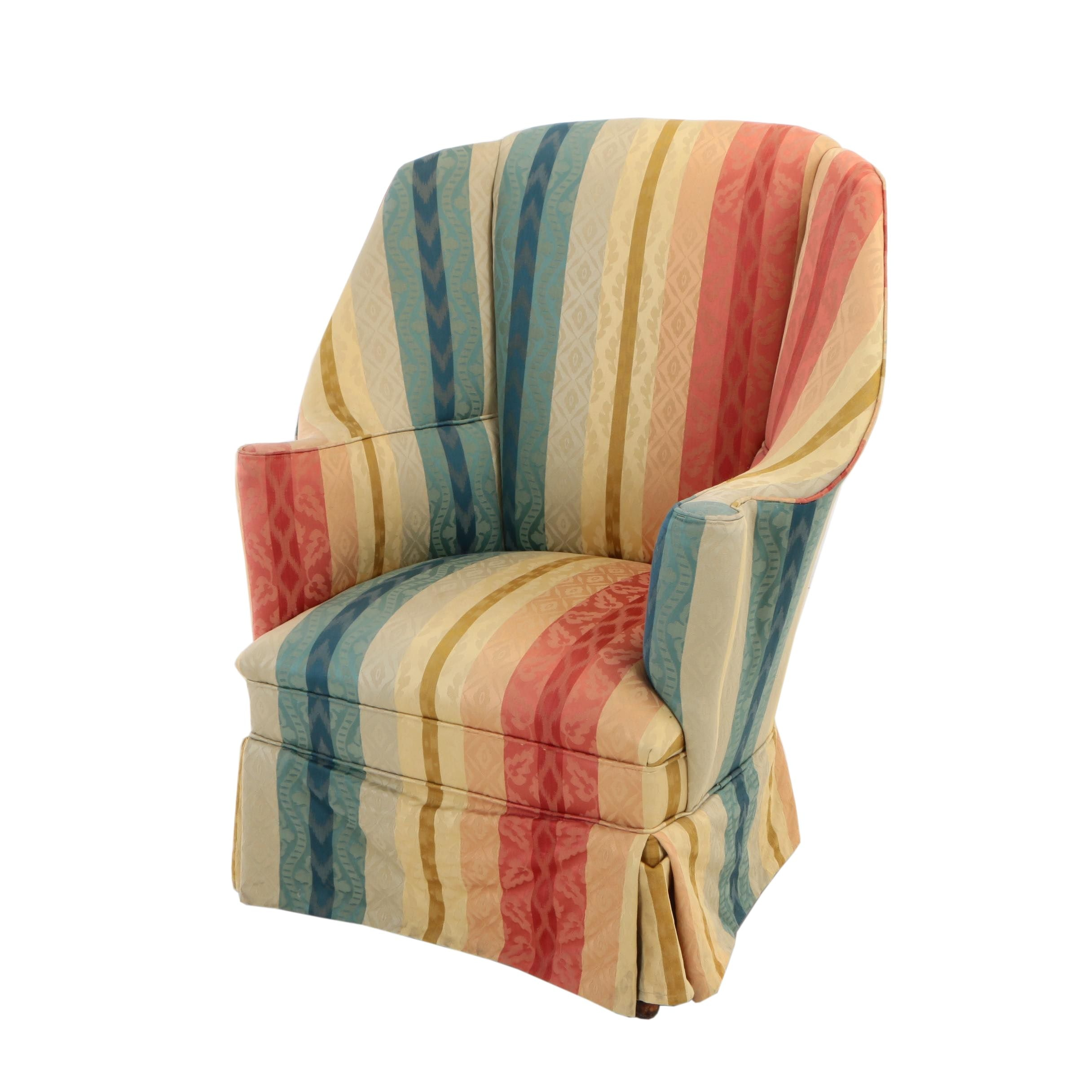 Queen Anne Style Custom-Upholstered Mahogany Wingback Armchair, 20th Century