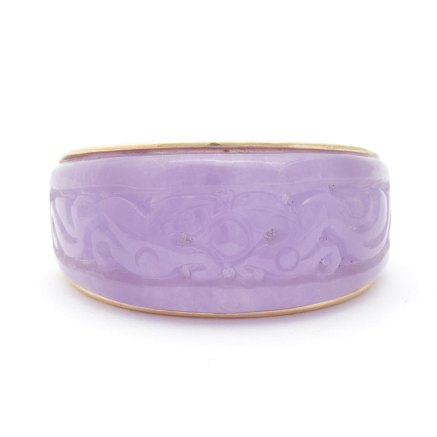 14K Yellow Gold Carved Lavender Jadeite Ring