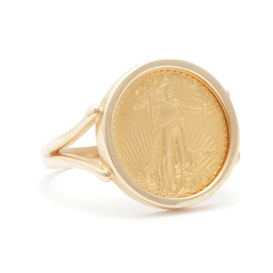 14K Yellow Gold Ring with 2008 $5 American Eagle Gold Bullion Coin