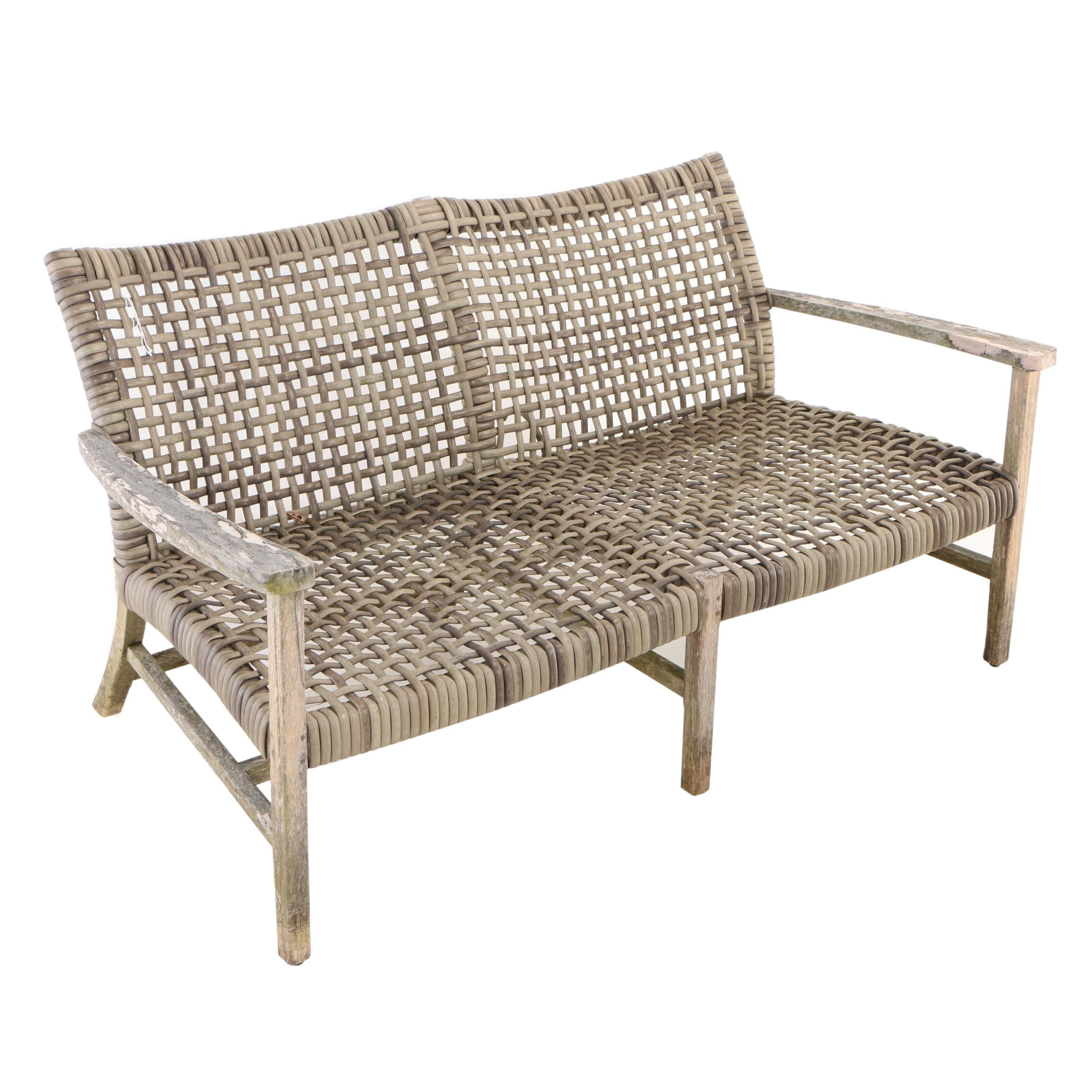 "Frontgate, Teak and Resin Wicker ""Isola"" Patio Loveseat"