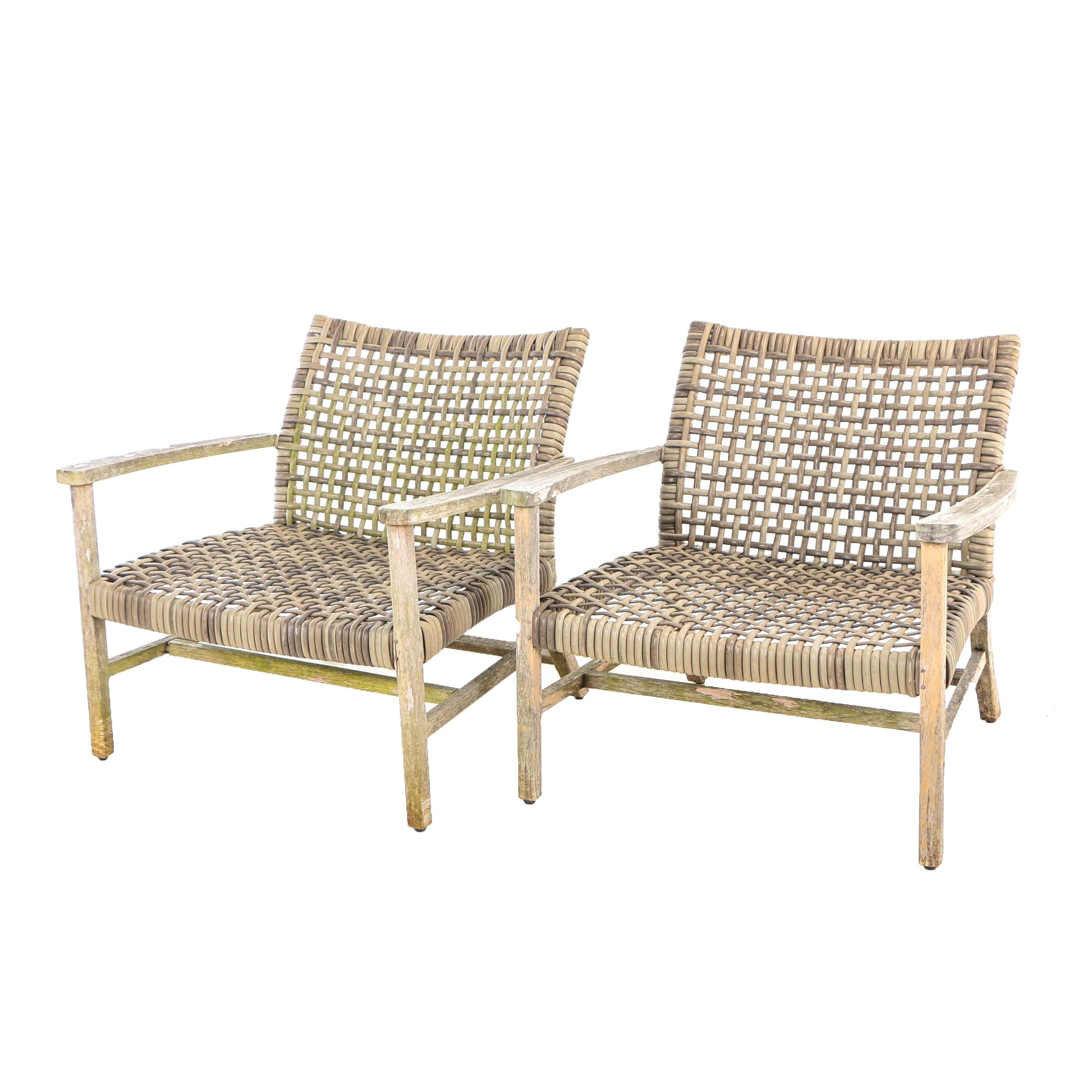 "Pair of Frontgate, Teak and Resin Wicker ""Isola"" Patio Lounge Chairs"