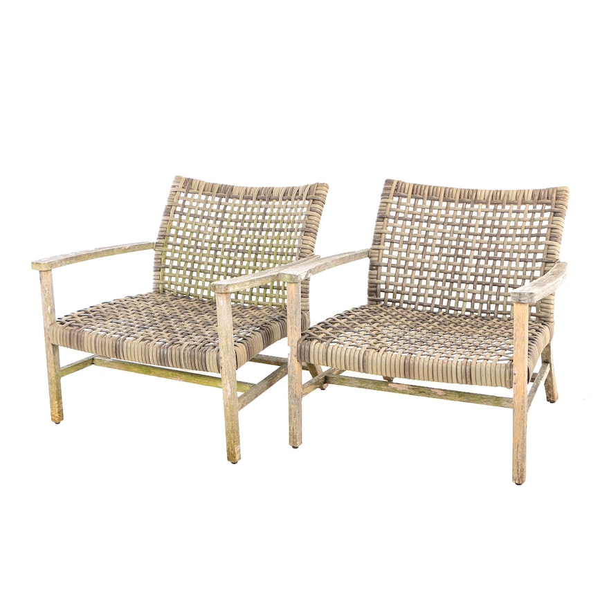 """Pair of Frontgate, Teak and Resin Wicker """"Isola"""" Patio Lounge Chairs"""