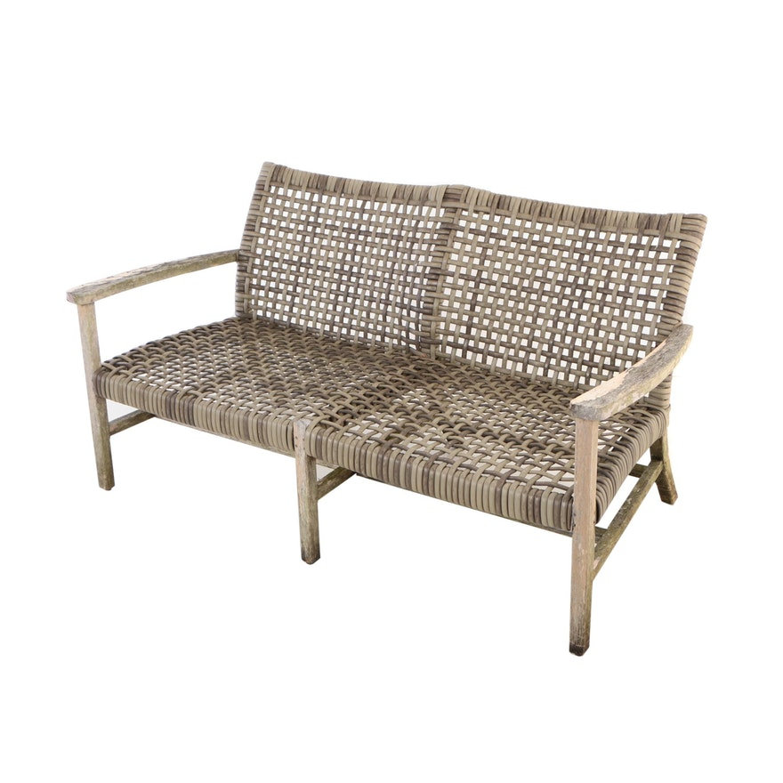 """Frontgate, Teak and Resin Wicker """"Isola"""" Patio Loveseat"""