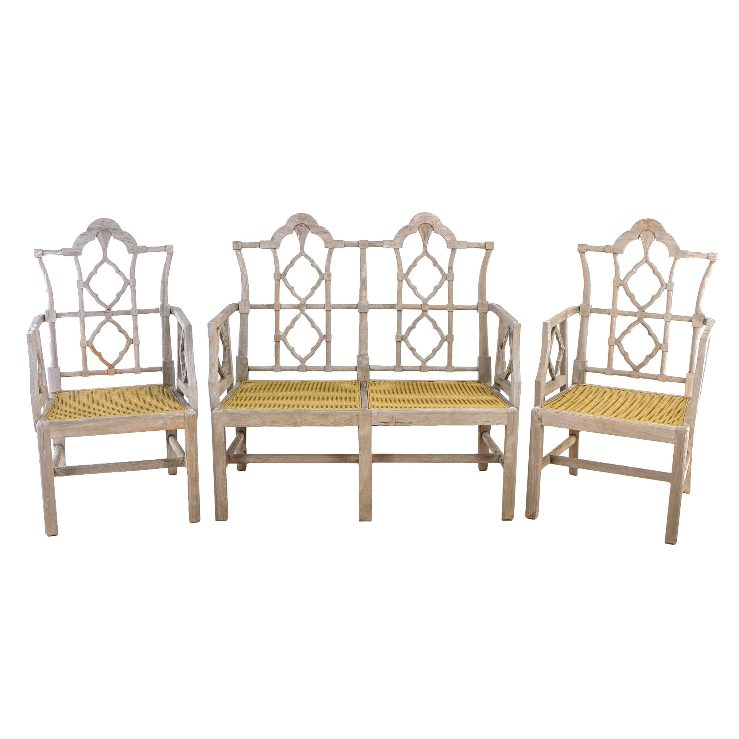 Furniture Classics Limited, Teak and Caned Three-Piece Patio Seating Group