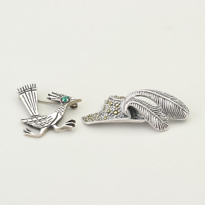 Sterling Silver Brooches with Spinel and Marcasite