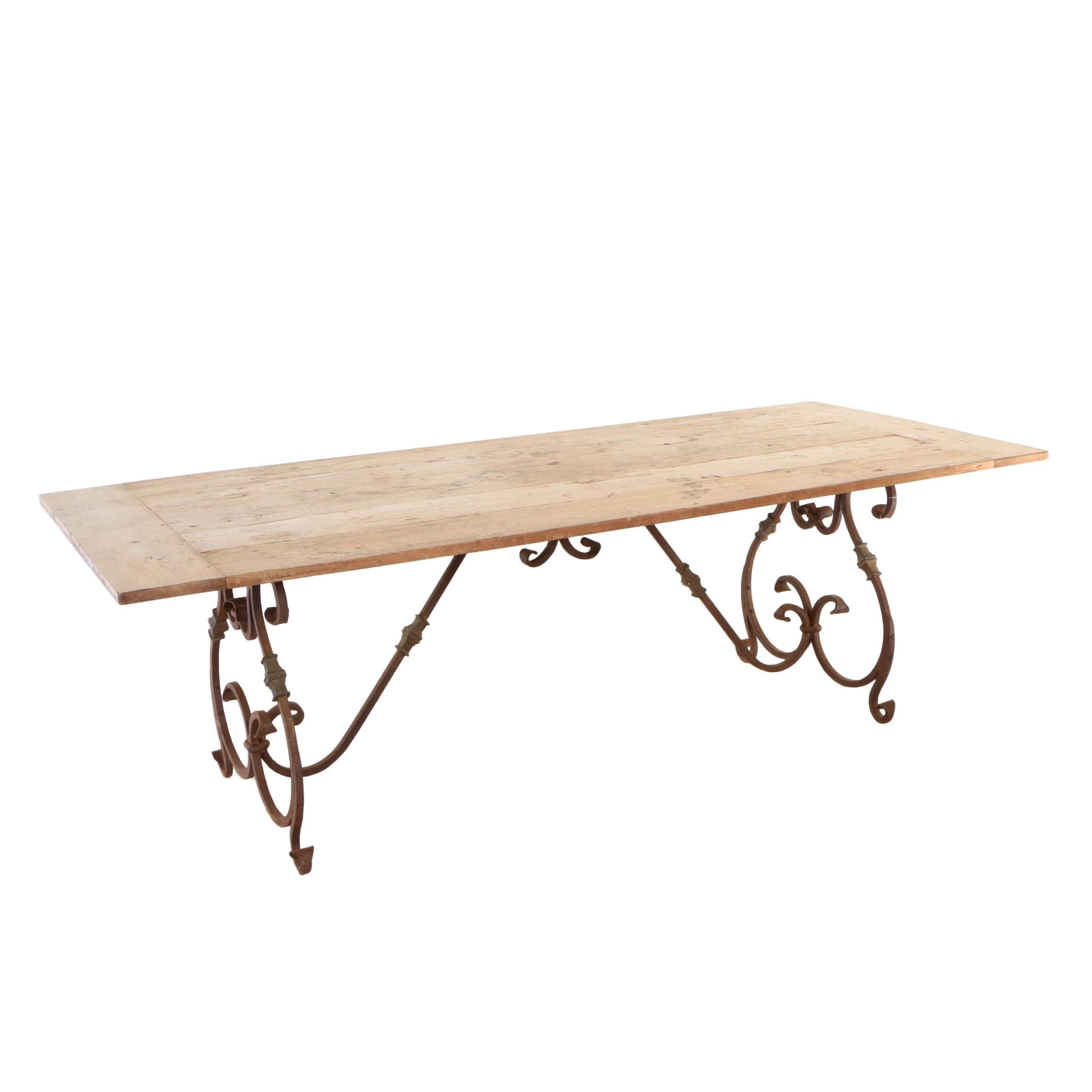 Baroque Style Iron and Teak Dining Table, 20th Century