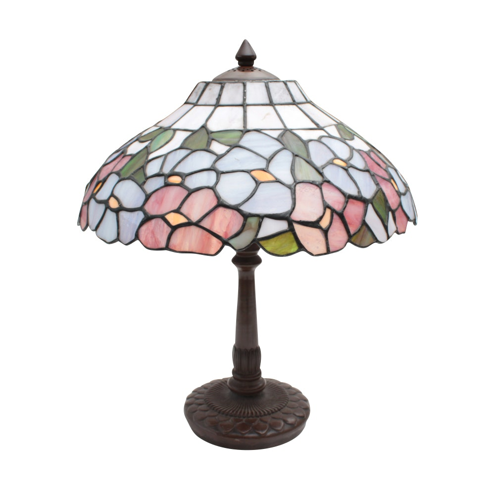 Cast Metal Table Lamp with Slag Glass Shade