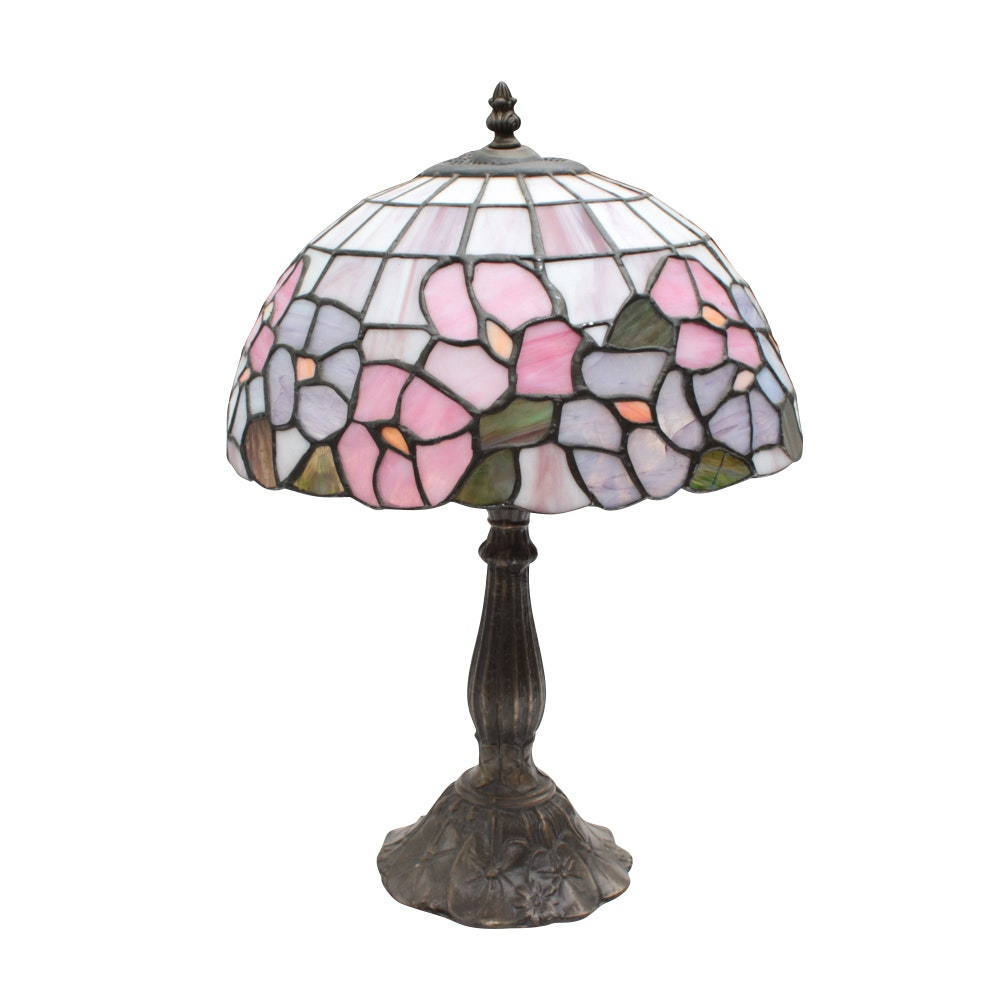 Cast Metal Lily Pad Table Lamp with Slag Glass Shade