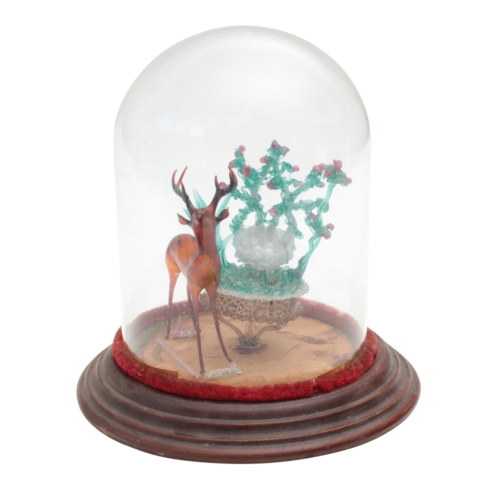 Handcrafted Glass Deer Scene, Late 19th Century