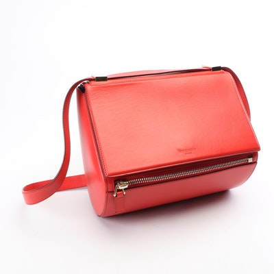 Givenchy Paris Pandora Medium Sugar Satchel Red Leather Crossbody Bag