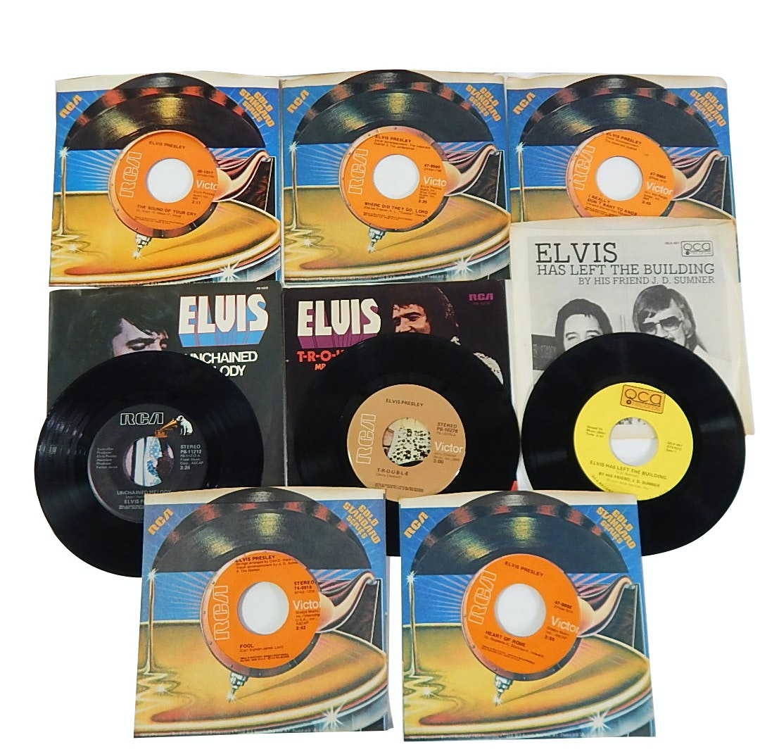 Elvis Presley 45 RPM Records on RCA and QCA Labels - 8 Count Lot