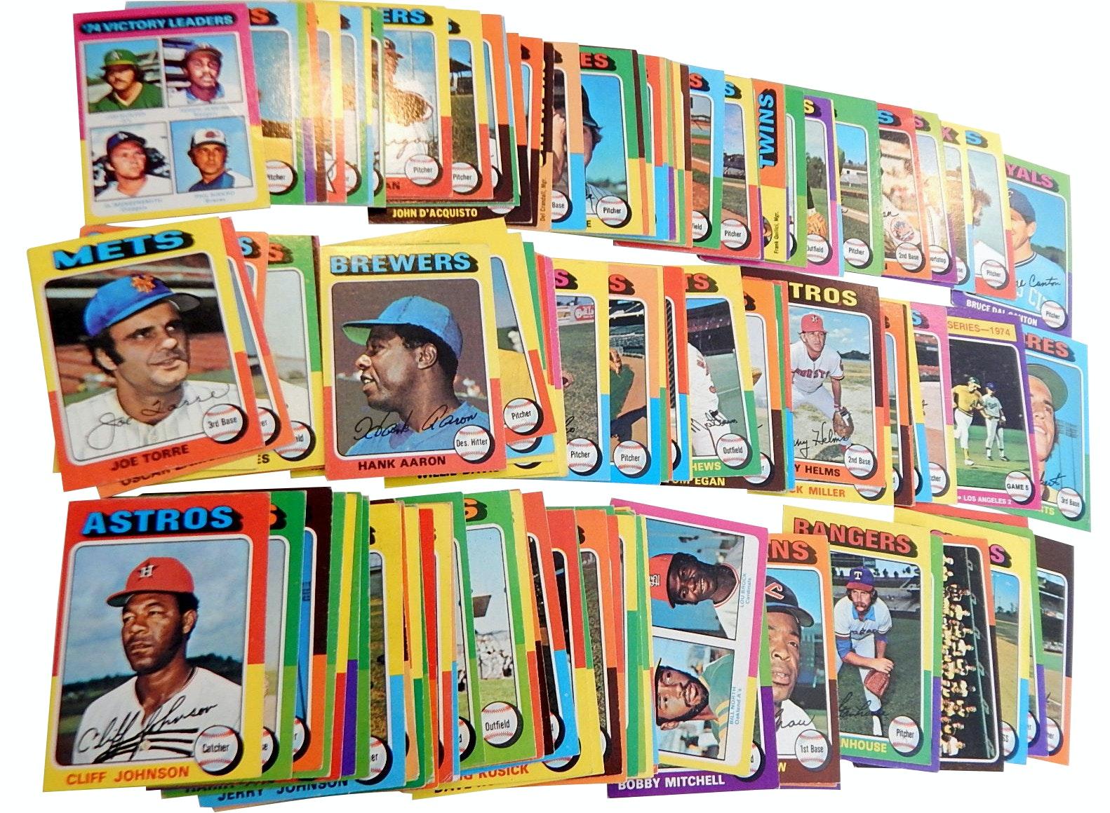 1975 Topps Baseball Mini-Cards with Hank Aaron #660, Joe Torre, Brock - 100 Ct.